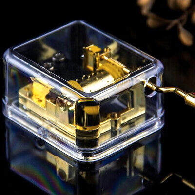 Portable Transparent Hand Crank Mechanical Music Box Clear Musical Toy Decor USA
