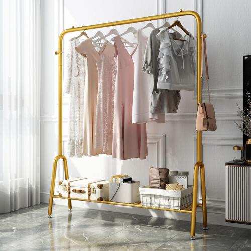 Gold Clothes Organizer Clothes Rack Metal Garment Rack with Storage Shoe Rack