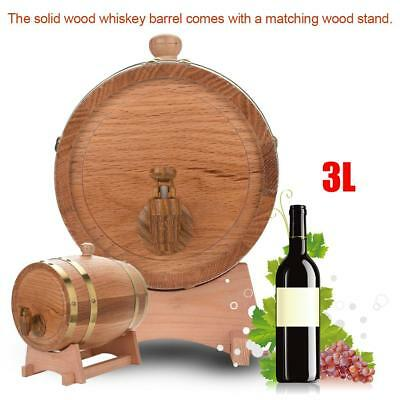 3L Vintage Wood Oak Timber Wine Barrel Dispenser for Whiskey Bourbon Rum Port for sale  Shipping to Canada