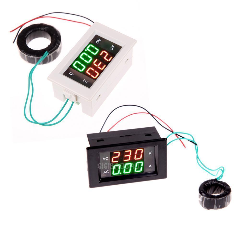 AC Digital Ammeter Voltmeter LCD Panel Amp Volt Meter 100A 300V 110V 220V New