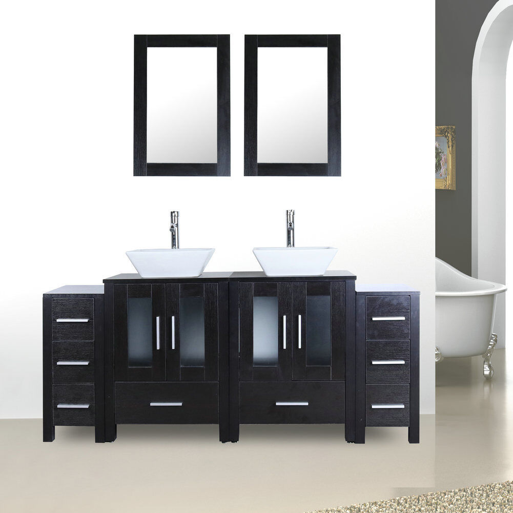 Fine Details About 72 Bathroom Vanity And Sink Combo Double Top Cabinet Black Wood Texture Home Interior And Landscaping Ologienasavecom