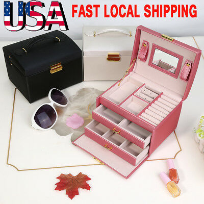 2/3 Layer PU Leather Jewelry Box Travel Case Display Storage W/ Mirror&Lock Gift