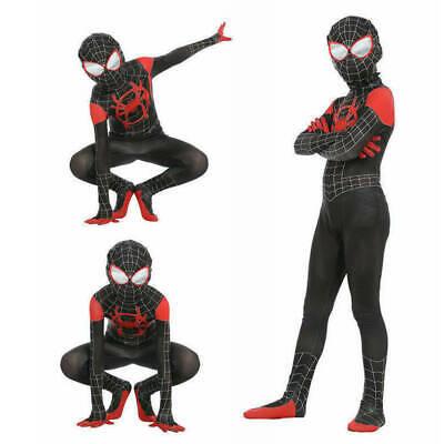 Spiderman Costume Children (Spider-Man Into the Spider-Verse Miles Morales Kids Jumpsuits Cosplay)