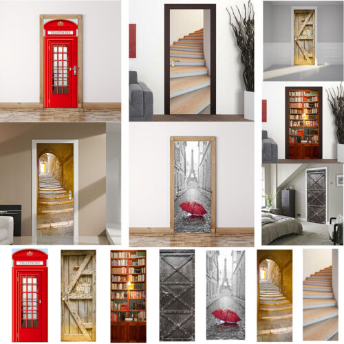 Home Decoration - 3D Door/Wall Stickers Removable Self-adhesive Mural Art Decals Vinyl Home Decor