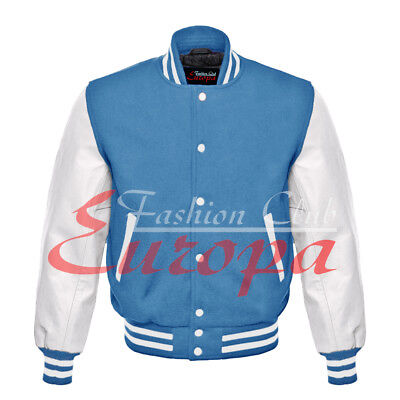 Varsity Wool Letterman Jacket With Real Leather Sleeves (Letter Man Jacket)