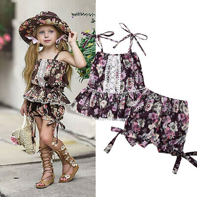 Princess Toddler Kids Baby Girl Lace Top Tutu Dress Shorts Party Outfit 1-6T US - Kids Princess Outfit