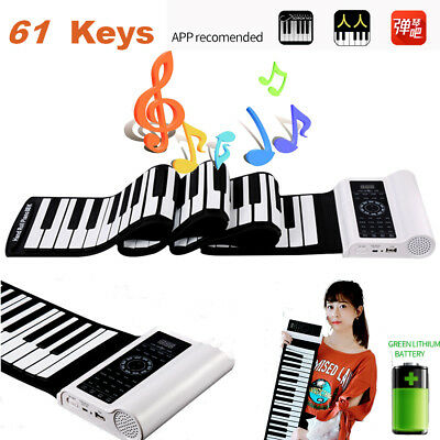 61 Keys MIDI Silicone Roll Up Piano Portable Electronic Music Keyboard USB LED