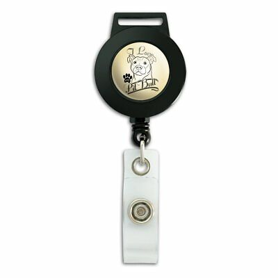 I Love My Pit Bull Lanyard Retractable Reel Badge ID Card Holder ()