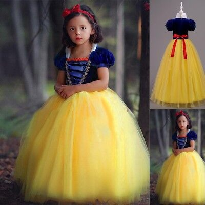 Girls Kids Snow White Costume Princess Gown Tutu Dress Halloween Cosplay Party (Halloween Costumes For Girls Kids)