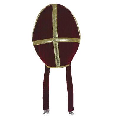 Bishop Pope Mitre Clergy Costume Prop Headgear Burgundy Hat