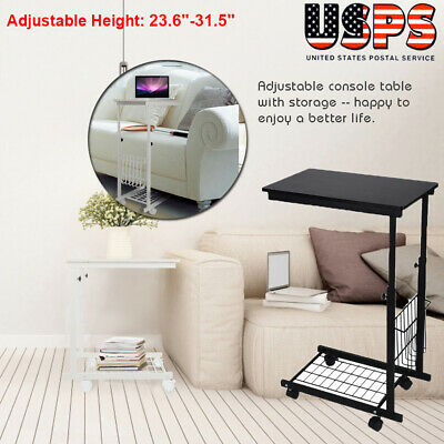 Adjustable Side Table Sofa End Cart Laptop Rolling Computer Desk Stand Tray Home