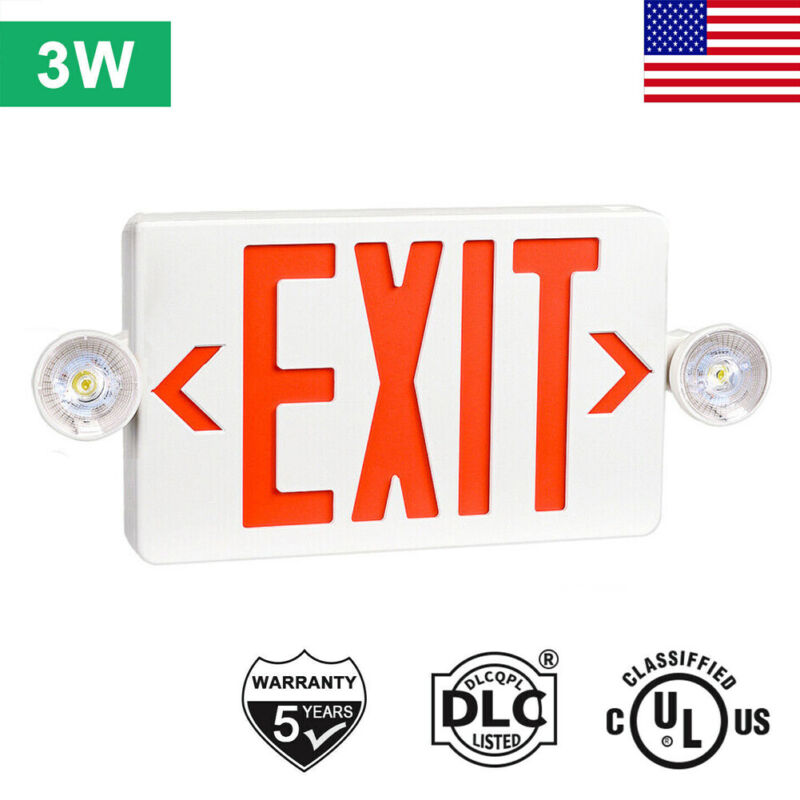 Red LED Exit Sign, UL-Listed Emergency Light - Dual LED Lamp ABS Fire Resistance