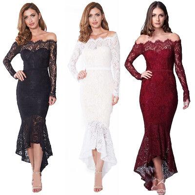 Damen Partykleid Schulterfrei Spitze Abendkleider Meerjungfrau Hochzeitskleid -