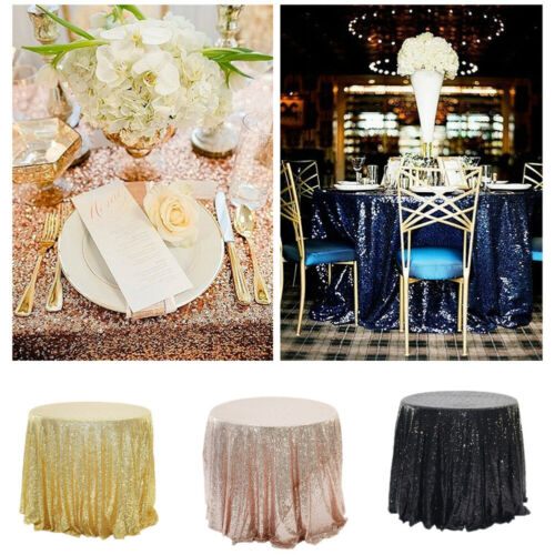 Round Sparkle Sequin Tablecloth Cover For Wedding Party Banq