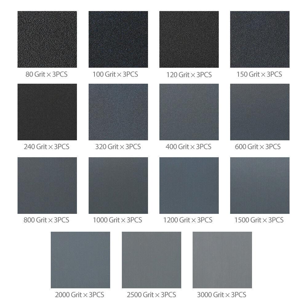 Wet Dry Sandpaper 80 -3000 Grit Assortment 9x3.6'' Abrasive Paper Sheet Sanding 2