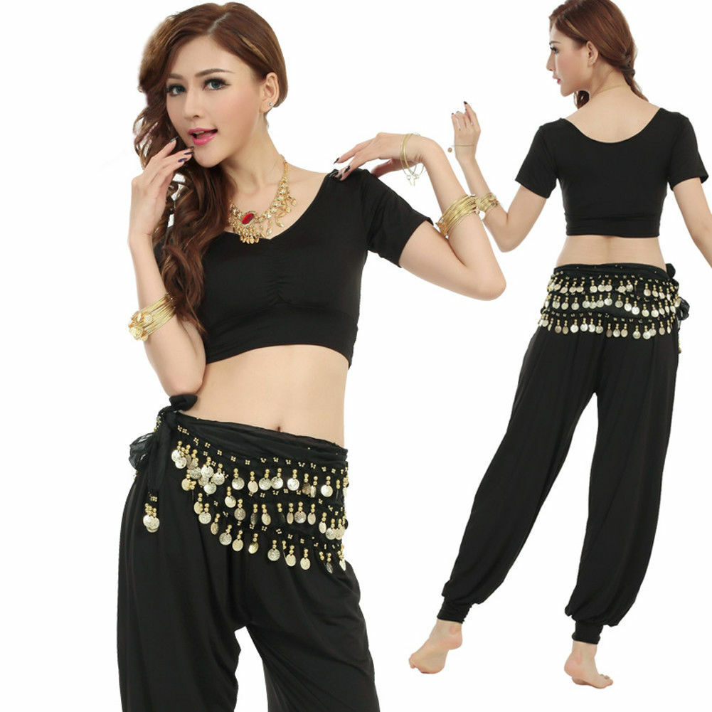 US 3 Rows Belly Dance Hip Skirt Scarf Wrap Belt with Gold Coins Black Adult Dancewear