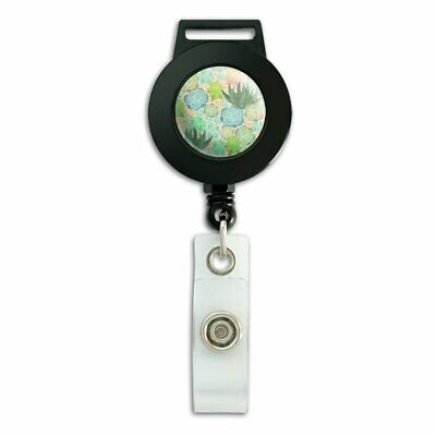 Succulent Cactus Aloe Plants Pattern Lanyard Reel Badge ID Card Holder for sale  Shipping to India