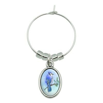 Blue Jay Watercolor Northeastern Bird Wine Glass Oval Charm Drink (Jay Z Glasses)