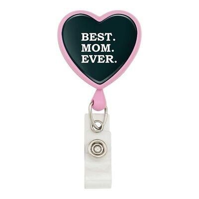 Best Mom Ever Heart Lanyard Retractable Reel Badge ID Card