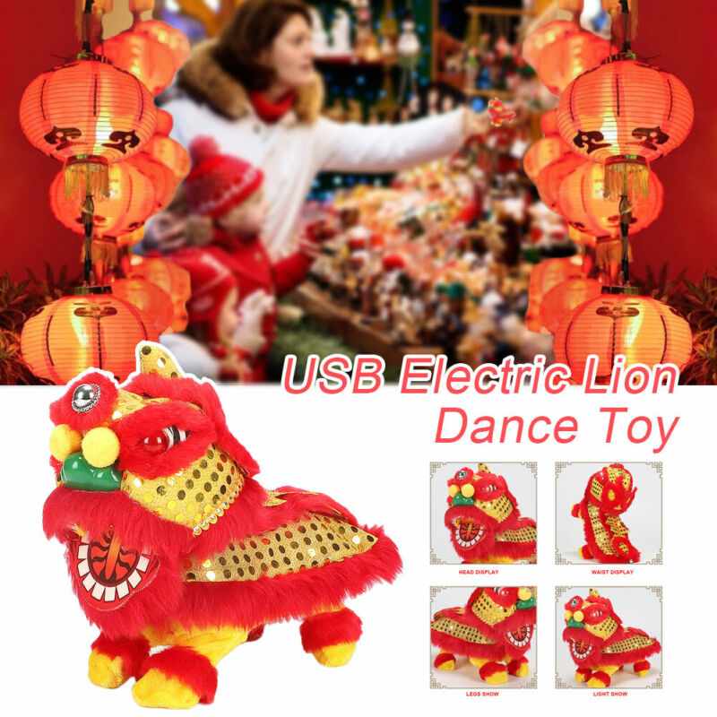 Chinese Electric Lion Dance Toy Spring Festival Stuffed Doll Wiggling Lions