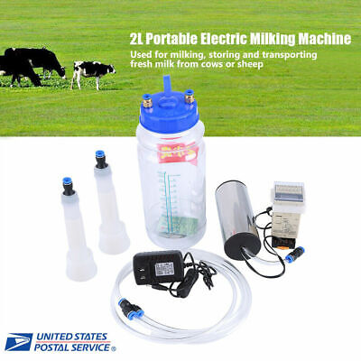 2l Tank Portable Vacuum Pump Electric Milking Machine For Farm Cow Sheep Goat