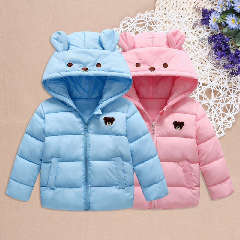 23b37783e61fe Details about Stylish 2 Color New Kids Baby Girls Boys Winter Down Jackets  Cotton Hooded Coats