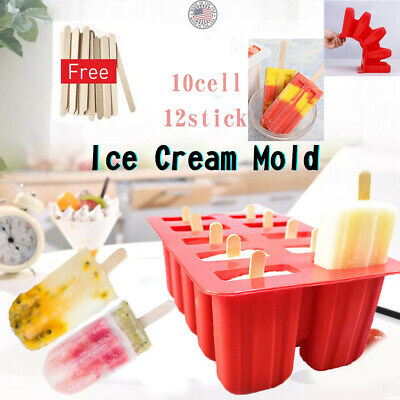 10 Cell Silicone Frozen Ice Cream Mold Juice Popsicle Maker Ice Lolly Pop Mould