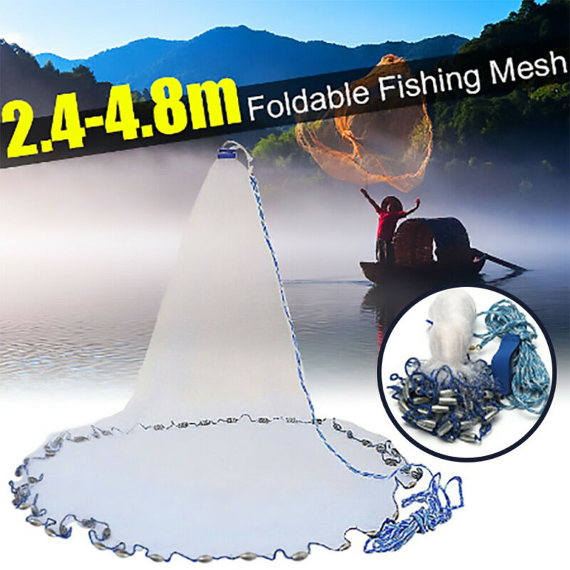 8/12/16ft Saltwater Fishing Cast Net Bait Easy Throw Hand Cast Strong Line Mesh