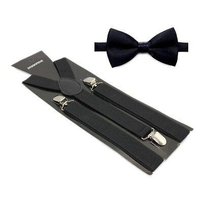 Hosenträger und Fliegen Set -Y Form 25mm 3 Clips Herren Fliege Suspender Schwarz