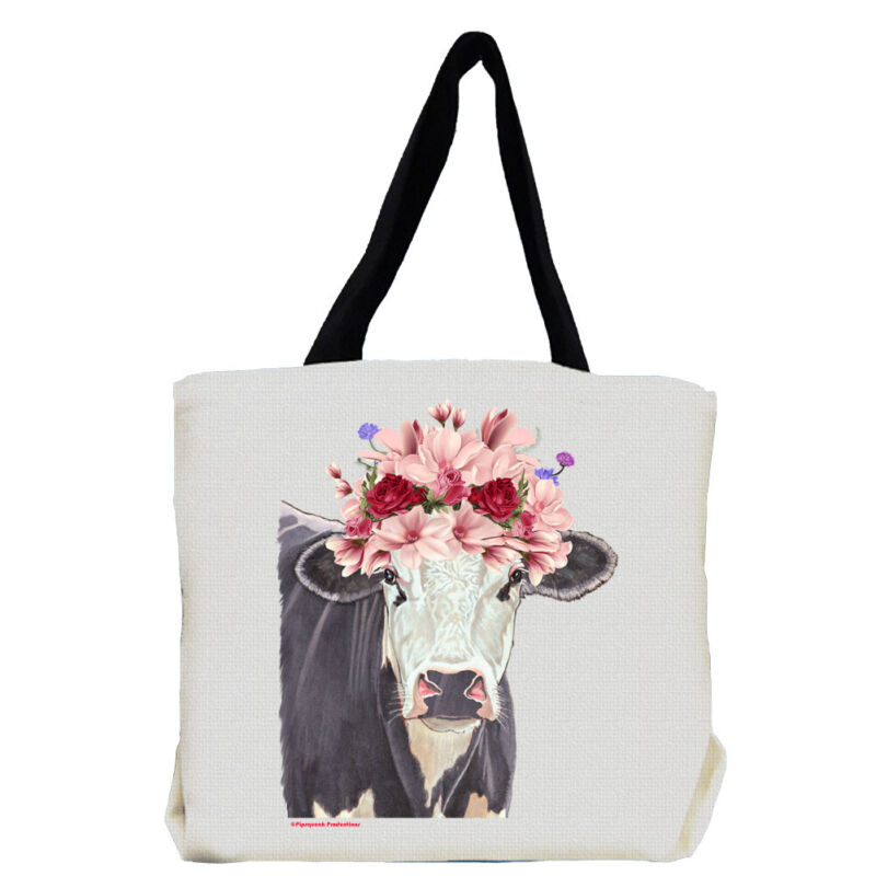 Cow Black And White Holstein Farm with Flowers Tote Bag