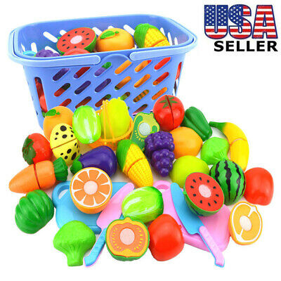 Kids Pretend Role Play Kitchen Fruit Vegetable Food Toy Cutting Set Gift Toy USA