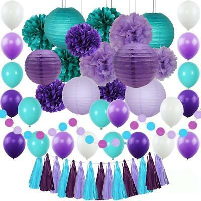 Mermaid Party Supplies Under the Sea Decorations Paper Pompoms Lanterns Balloons - Mermaids Party Supplies