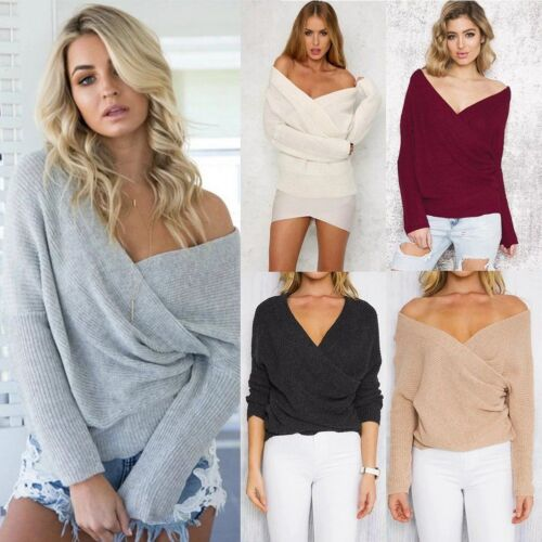 9eb55ab8a14 Details about Womens Fashion Deep V-Neck Cross Off Shoulder Causal Sweater  Blouse Tops 50