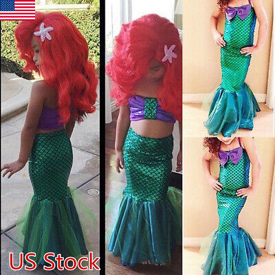 Little Girl Costumes (Kid Girl  Little Mermaid Set Princess Dress Party Cosplay Costume)