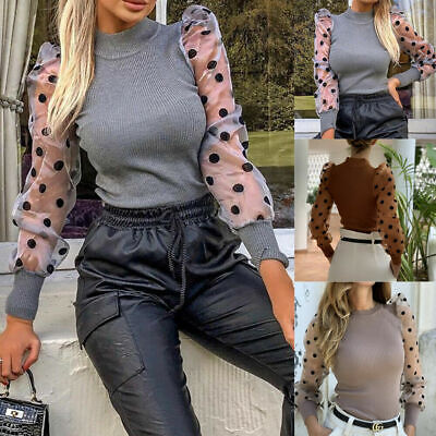 Women Turtle Neck Mesh Polka Long Sheer Sleeve Sweater Top Pullover Blouse Shirt