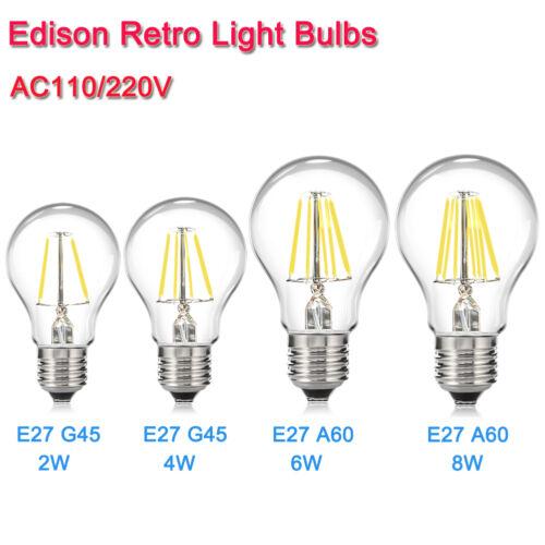 Retro E27 Dimmable Filament  Light Bulb Light LED Candle Lamps Edison110V 220V