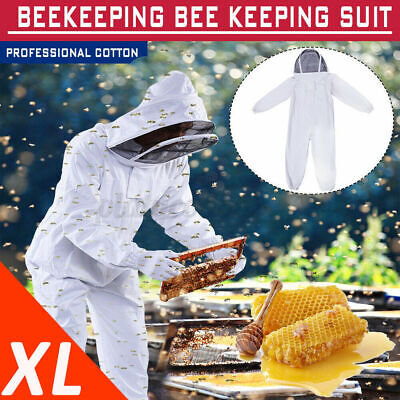 Professional Cotton Full Body Beekeeping Bee Keeping Suit W Veil Hood Xl