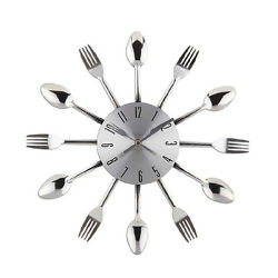 Silver Large 3D DIY Metal Wall Clock Sticker Big Watch Home Decor Fork Spoon