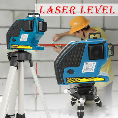 New 12 Line Green Laser Level Self Leveling 3d 360 Rotary Cross Measure Tool