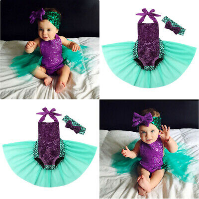 US Toddler Baby Girl Mermaid Costume Lace Romper Jumpsuit Tulle Tutu Skirt Set](Baby Girl Costumes)