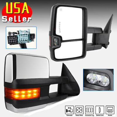 Chrome Tow Mirrors for 03-06 Chevy Silverado Power Heated Amber Signal Backup