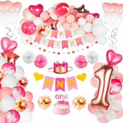 First Birthday Decoration (Birthday Decorations Baby Girl 1st Birthday Party Supplies Pink)