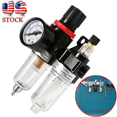 Air Compressor Filter Moisture Water Oil Separator Trap Tools Regulator Gauge