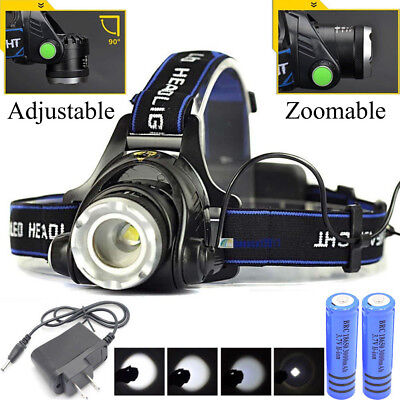120000LM Rechargeable Head light T6 LED Tactical Headlamp Zoomable+Charger+18650