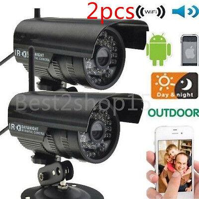 2PCS WiFi Outside Waterproof Wireless Night CCTV Security Network P2P IP Camera