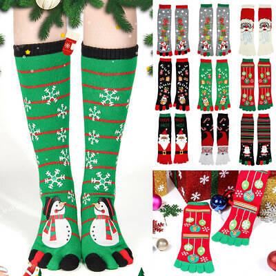 Christmas Novelty Knee-high Socks Five Finger Toe Socks Funny Santa Warm Hosiery ()