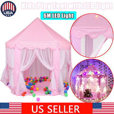 Princess Castle Play House In/Outdoor Kids Play Tent for Girls Pink 6M LED Light - Castle For Girls