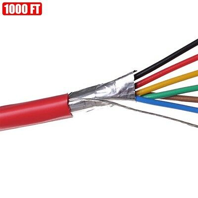 1000ft Shielded Solid Fire Alarm Cable 186 Copper Wire 18awg Fplr Cl3r Ft4 Red