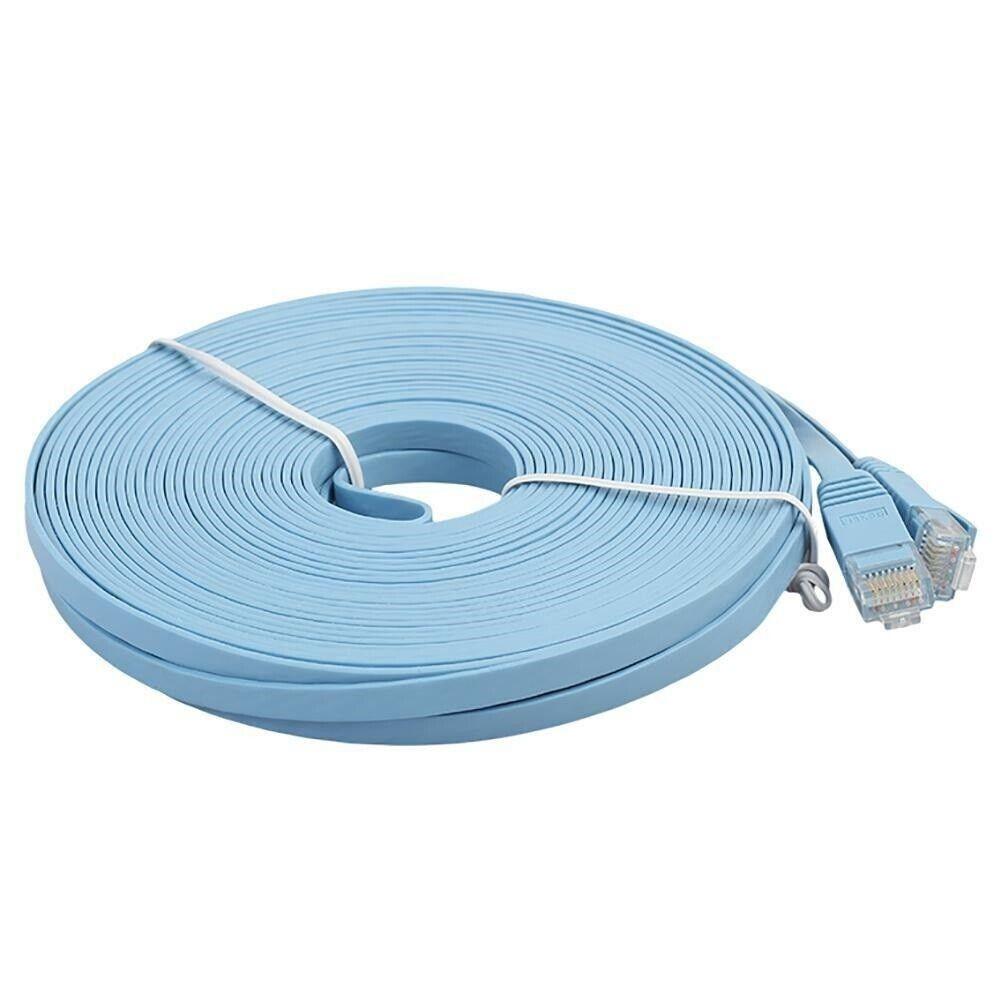 Cat6 RJ45 150ft Patch Cord Cable Flat 550mhz Ethernet Internet Network LAN Blue Computer Cables & Connectors