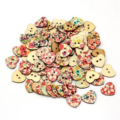 AKORD Mixed Printed Flower Heart Shape Wooden Sewing Buttons, Wood, Multi-Col...